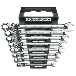 8 Piece Sae Gearwrench Xl Locking Flex Head Ratcheting Wrench Set Kdt85798 New