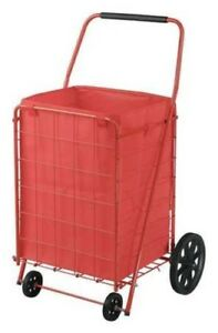 Red Shopping Cart For Groceries Carrito Mercado Rojo Portable Foldable Basket