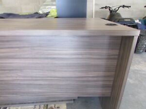 Office Furniture Wood Executive Desk Heather Grey W 3 Drawer Cabinet 48 l X 27d