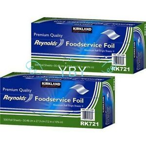 2 Packs Kirkland Reynolds Foodservice Aluminum Foil 12x10 75 Single Sheets 500ct