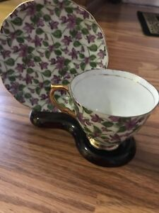 Vintage Napco Hand Painted Porcelain Cup And Saucer