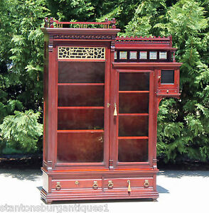 Aesthetic Victorian Solid Mahogany Bookcase Wside Cabinet Gallery 2 Keys C1890