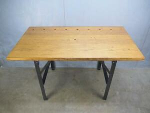 Vintage Industrial Quartersawn Oak Steampunk Desk Table Old Factory Work Bench