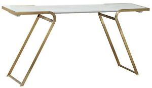 63 l Modern Office Desk With Inset Concrete Top Stainless Steel Gold Frame