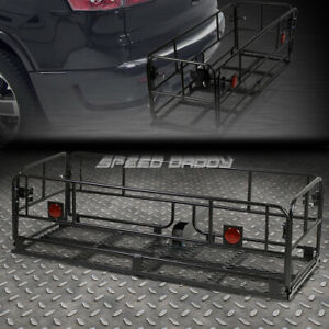Powdered Coated 2 hitch Fold up Cargo Basket Baggae luggage Box Carrier Rack