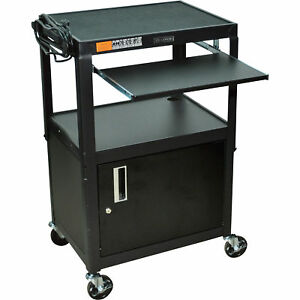 Luxor Adjustable Height Steel Cart W locking Cabinet 400 lb Cap Blk avj42kbc