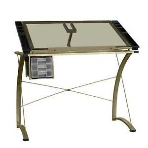 Lyke Home Clear Silver Metal Glass Computer Work Station Desk