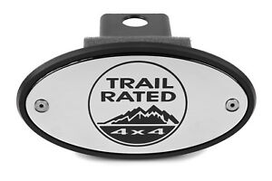 Jeep Trail Rated Chrome Receiver Hitch Cover Engraved Usa Made