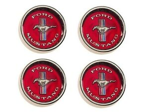 1965 1966 Mustang Styled Steel Wheels Center Caps Red Ford Licensed