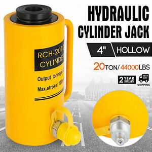 20 Tons 4 Hollow Hydraulic Cylinder Jack Automotive Body Durable Single Acting