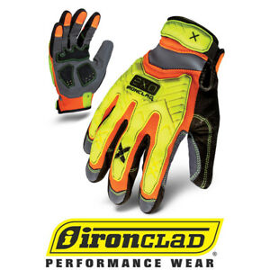 Ironclad Exo2 High Visibility Hzi Impact Safety Work Gloves 12 Pair Bulk Case