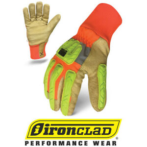 Ironclad Exo Hi vis Hvip Insulated Leather Work Gloves 12 Pair Bulk Case