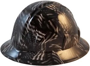 Black And Gray Usa Flags Hydro Dipped Full Brim Hard Hat W ratchet Suspension