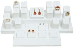 Store Showcase White Faux Leather 16 Ring 7 Earring Pendant Display Pawn Shop