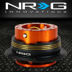 Nrg 6 Bolt Aluminum Steering Wheel Quick Release Gen 2 9 Orange Body Gold Stripe