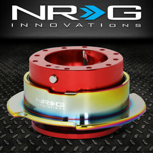 Nrg 6 bolt Aluminum Steering Wheel Quick Release Gen 2 5 Red neo Chrome Ring