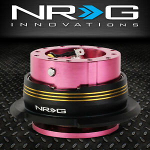 Nrg 6 Bolt Aluminum Steering Wheel Quick Release Gen 2 9 Pink Body Gold Stripe