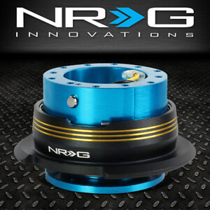 Nrg 6 Bolt Aluminum Steering Wheel Quick Release Gen 2 9 New Blue Gold Stripes