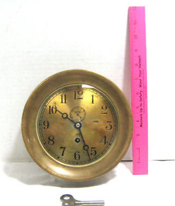 Vintage Chelsea Solid Brass Ship Clock Maritime Nautical Maritime 690622
