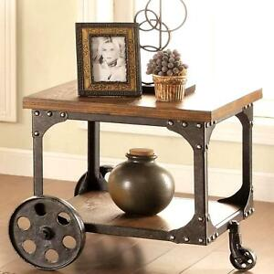 Industrial Cart Design Occasional End Table With Functional Iron Wheels