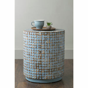 East At Main s Brillion Blue Round Coconut Shell Accent Table