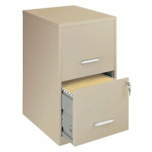 Space Solutions 18 Deep 2 drawer Metal File Cabinet Putty