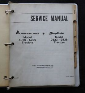 Simplicity Allis Chalmers 5020 5030 9523 9528 Tractor Service Repair Manual Nice