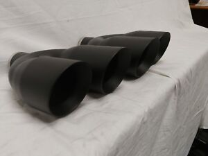 Black Dual 4in Double Wall Angle Exhaust Tips 2 5 Inlet