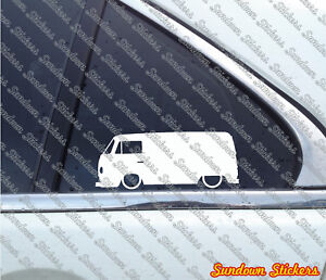 2x Lowered Car Stickers For Vw T2 Bay Window Transporter Van Classic