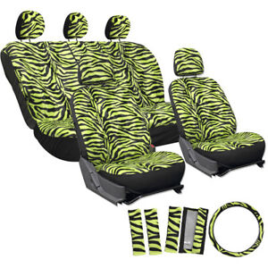 Auto Seat Covers For Jeeps Green Zebra Tiger Animal Print Belt Pads Head Rests