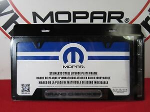 Jeep Grand Cherokee Satin Black License Plate Frame New Oem Mopar