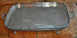 Antique Hallmarked English Silverplate Gallery Paw Footed Butler Tray