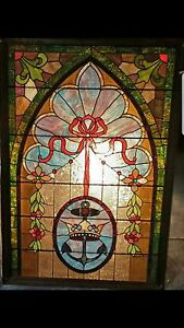 Vintage Leaded Stained Glass Panel 40 X 64 In A Wooden Frame Reduced Again