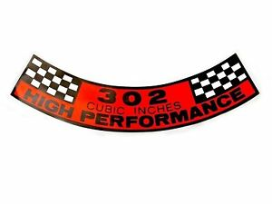 1968 1969 Ford Mustang Air Cleaner Decal 302 Cubic Inches High Performance