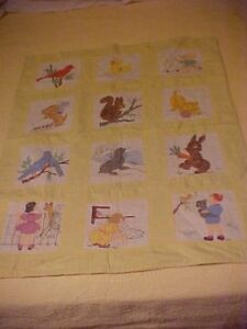 Vintage 1960s Painted Baby Quilt Animals