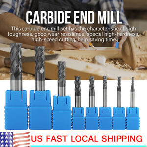 8pcs Carbide Straight Shank 4 Flute End Mill Cutter Cnc Drill Bit Tool 2 12mm