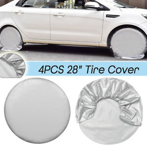 4x 28inch Wheel Tire Tyre Covers Oxford Cloth For Rv Trailer Camper Car Truck