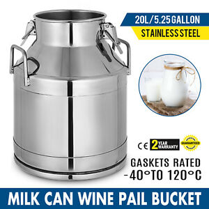 5 25 Gal Milk Can Tote stainless Steel 20 L heavy Duty Sides strong Sealed Lid