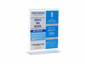 Acrylic Sign Holder 6 Pcs 8 5 X 11 T Shaped Double Sided Extra Thick Durable