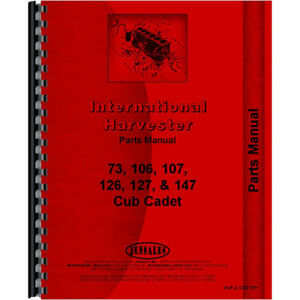 Tractor Parts Manual For International Harvester Cub Cadet 73 Tractor