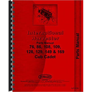 Tractor Parts Manual For International Harvester Cub Cadet 86 Tractor
