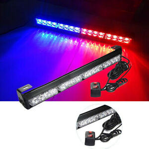16 Led Auto Red Blue Emergency Warning Light Bar Car Truck Police Strobe Flash