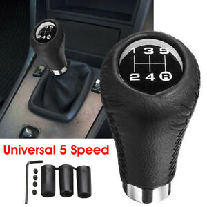 Black Universal 5 Speed Car Shift Knob Manual Gear Stick Shifter Lever Leather