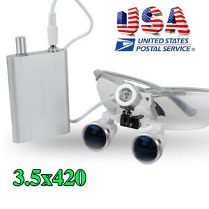 Dental Surgical Medical Lab Loupes 3 5x420mm Distance Led Head Lighting Lamps