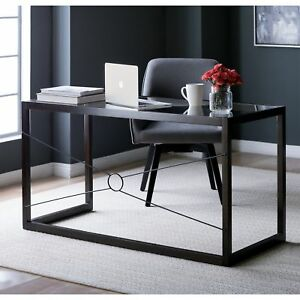 Studio Designs Home Newell Brown Wood Glass 48 inch Desk Table Return