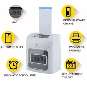 Lcd Automatic Paper Card Employee Attendance Punch Time Payroll Recorder White