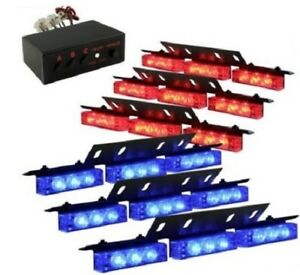 Zone Tech Blue Red Deck Grille Vehicle Led Police Strobe Warning Light 54x