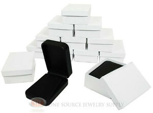12 Piece Pendant Earring Black Leather Jewelry Gift Box 2 3 4 w X 4 d X 1 3 8 h