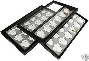 White Earring Acrylic Lid Jewelry Display Case Tray