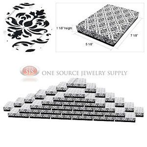 50 Damask Print Gift Jewelry Cotton Filled Boxes 7 1 8 X 5 1 8 X 1 1 8